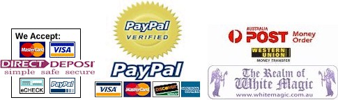 Here is our accepted forms of payment - We hope this makes your ordering easier with us! Thanks for visiting The Realm of White Magic
