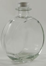 Large Plain 'Clock Face' Round Flat Clear Glass Bottle - 550ml - Also Suitable For Wedding Sand Ceremony