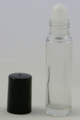Roll-on Applicator Clear Glass Bottle with Black Lid - 10ml - Glass