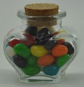 Clear Glass Mini Heart Jar with Quality Cork Seal - 60ml - The Perfect Little Wedding Favour!