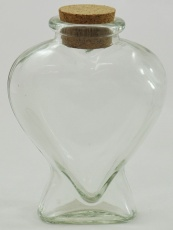 Heart Shape Clear Glass Bottle with Cork Seal - 210ml