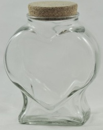 Large Clear Glass Heart Jar with cork - 1100ml