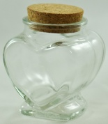 Small Heart Shaped Clear Glass Jar with Cork Seal - 110ml