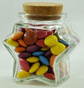 Small Star Shaped Clear Glass Jar with Cork Seal - 120ml