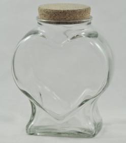 XLarge Clear Glass Heart Jar with cork - 2100ml