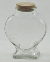 Medium Clear Glass Heart Jar with cork - 400ml