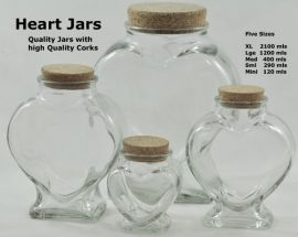 New Range of Clear Glass Heart Jars - Suitable for your Wedding Sand Ceremony! A great display jar or vase for your herbs, flowers, feathers, bath salts and crystals