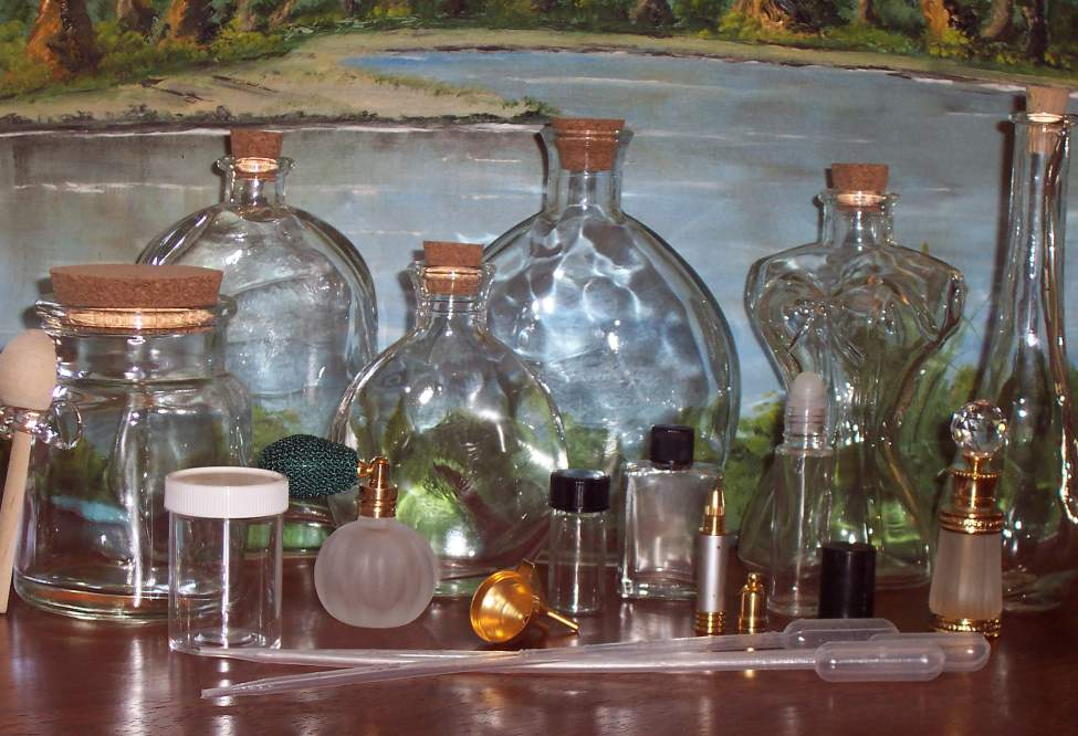 Decorative and Perfume Bottles, Tiny Vials, Bottles with Cork Seals
