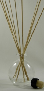 - Oil Diffuser Example - Set Up with Our Clear Glass Ball Bottle, Reed Sticks and Black Synthetic Cork