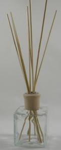 - Oil Diffuser Example - Set Up with a Clear Glass Cube Bottle, Reed Sticks and Natural Diffuser Collar