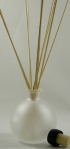 - Oil Diffuser Example - Set Up with Our Frosted Glass Ball Bottle, Reed Sticks and Black Synthetic Cork