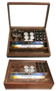 Aromatherapy and Incense Box with Sturdy Glass Lid - Includes 6 Tealites, Glass Dish, Incense Boat.