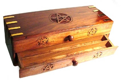 Carved Pentagram Altar Chest with Two Drawers and Brass Accents