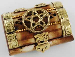 Pentagram Keepsake Chest with decorative Latch Closure