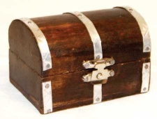 Mini Wooden Fairy Tale Treasure Chest with Latch Closure - Click for Detail View