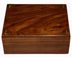 Aromatherapy Oil Storage Box with 12 Slots for Bottles - Wood with brass accents - Click For Detail View