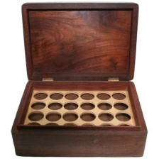 Aromatherapy Oil Storage Box - Inside View - 24 Slots for Bottles - Wood with Brass Accents