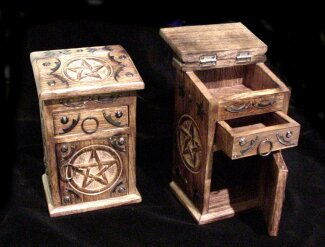 Pentacle Altar Cabinet with etched pentacles