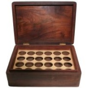Aromatherapy Oil Storage Box - Inside View - 24 Slots for Bottles - Wood with Brass Accents - Click For More