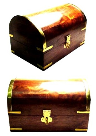 Domed Topped Wooden and Brass Treasure Chest with Latch Closure