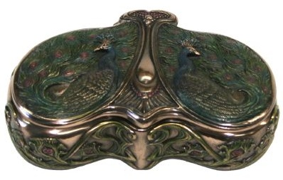 Art Nouveau designed by Veronese - Double Peacock Trinket Box - Fused Bronze