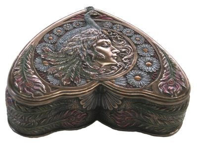 Art Nouveau designed by Veronese - Peacock Maiden Trinket Box - Fused Bronze