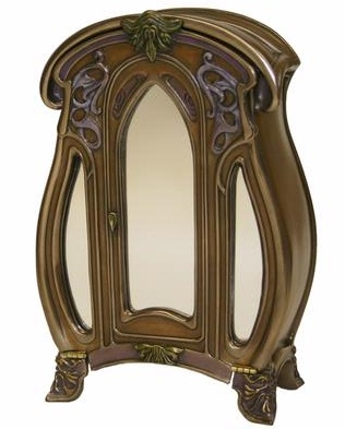 Art Nouveau designed by Veronese - 3 Mirrored Trinket Box with an unusual vertical opening lid/door - Click for Detail View