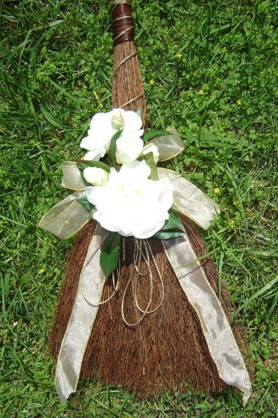 Jumping Over The Broom Ceremony - One of our Cinnamon Brooms Decorated for Ceremony - Thankyou for sharing