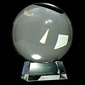 Rare Huge 190mm Clear Crystal Ball with stand - Click For Detail