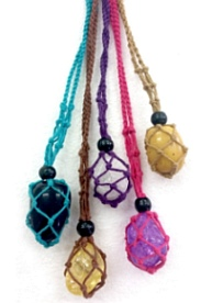Macrame 'Pocket Crystal' Holder - Colourful - Use to carry, hang or wear your favourite gem stones - Click for larger view
