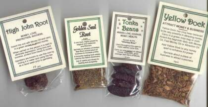 Samples of Magical Herb Packs - High John Root, Golden Seal Root, Tonka Beans and Yellow Dock