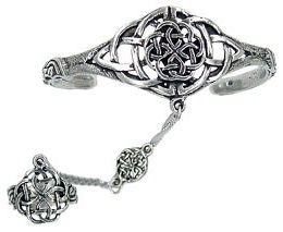 Celtic Knotwork Slave Bracelet with Ring - Pewter