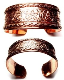 A Triple Pentagram Copper Bracelet - Copper