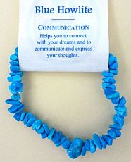 Blue Howlite Crystal Chip Bracelet - Communication
