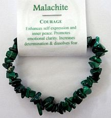 Malachite Crystal Chip Bracelet - Courage