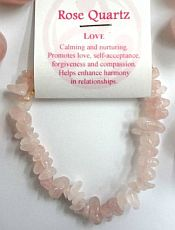 Rose Quartz Crystal Chip Bracelet - Love
