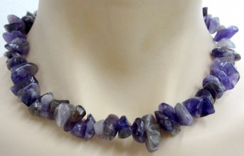Amethyst Crystal Chip Necklace - Chunky Size