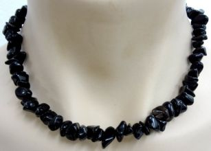 Black Obsidian Crystal Chip Necklace - Chunky Size