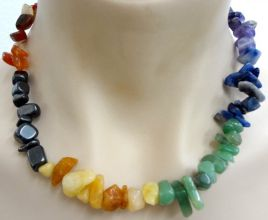Chakra Crystal Chip Necklace - 7 Gems - Chunky Size