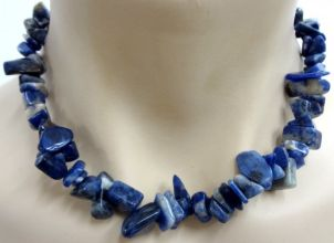 Sodalite Crystal Chip Necklace - Chunky Size