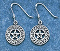 Sterling Silver Celtic Pentagram Spiral Earrings - Click for detail VIEW