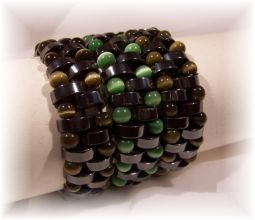 Click For Detail View - Non-Magnetic Reversable Hematite Bracelets with Crescent Moon shaped beads and 5mm Brown and Green Cat Eye beads - Mix N Match for different colour effects - One Size Fits All
