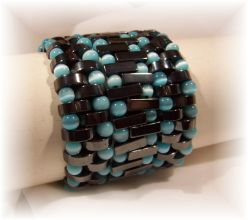 Click For Detail View - Non-Magnetic Reversable Hematite Bracelets with Crescent Moon shaped beads with 5mm Turquoise Cat Eye beads - One Bracelet Reversed - Mix N Match for different colour effects - One Size Fits All
