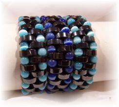 Click For Detail View - Non-Magnetic Reversable Hematite Bracelets with Crescent Moon shaped beads and 5mm Blue and Turquoise Cat Eye beads - Mix N Match for different colour effects - One Size Fits All