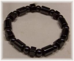Click For Detail View - Magnetic Hematite Bracelet with Assorted Shape Beads - One Size Fits All