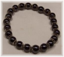 Click For Detail View - Magnetic Hematite Bracelet with Round Beads and Decorative Silver Spacers - One Size Fits All