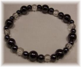 Click For Detail View - Magnetic Hematite Bracelet with Assorted Round Hematite Beads and Clear Coloured Beads - One Size Fits All
