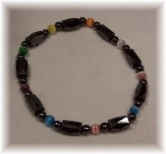 Click For Detail View - Magnetic Hematite Bracelet with Faceted Tube and Round Hematite Beads with 9 colourful Cat Eye Beads - One Size Fits All