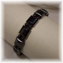 Click For Detail View - African Style Magnetic Hematite Bracelet with Square and Round Hematitie Beads - One Size Fits All