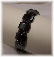 Click For Detail View - African Style Magnetic Hematite Bracelet with Pillow Shaped and Round Hematite Beads - One Size Fits All